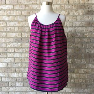 NWT LOFT Purple Striped Tank Top Blouse Size L